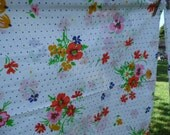 Lady Pepperell vintage standard pillowcases blue polka dots daisy flowers and more in orange pink yellow white blue with green leaves