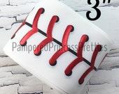 """3yd-3"""" Printed Foil Ribbon- Sports Ribbon, Printed Ribbon, Baseball Ribbon, Sparkle Holographic Foil Ribbon, Foil Baseball Stitches"""