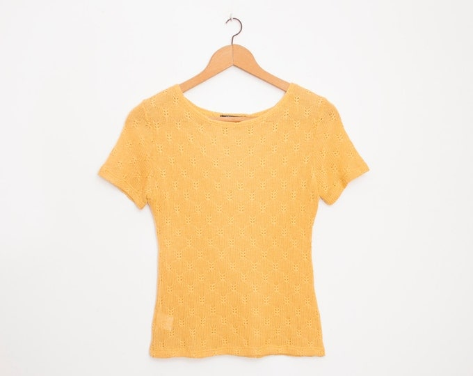 NOS vintage 90s knit sweater mustard yellow