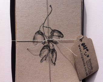 Set of Six Botanical Printed Notecards in three different seed pod designs