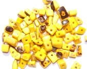 40 Yellow Tagua Nut Beads, Chip Beads, Vegetable Ivory Beads, Organic Beads, Natural Beads, EcoBeads, Loose
