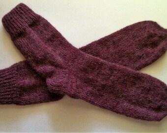 "Hand Knit Soft And Warm Men's Alpaca Socks, Size 12  (11.25"" length) Warm Men's Socks, Hand Made Socks, Knitted Men's Socks, Large Socks"