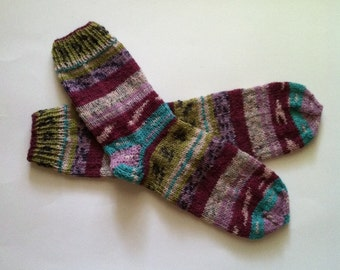 "Hand Knit Warm Women's Striped Superwash Wool Socks, Size 8-8.5 (9.5"" length), Knitted Wool Socks, Knitted Boot Socks, Leg Warmers,  Socks"