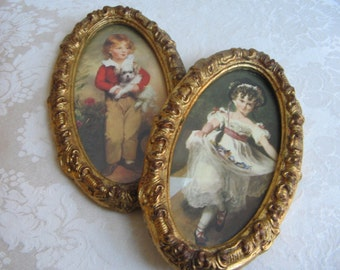 Vintage Florentine Prints in Ornate Gold Italian Frames of Boy Girl Children Wall Art Portraits Set, Miss Murray & Master Simpson