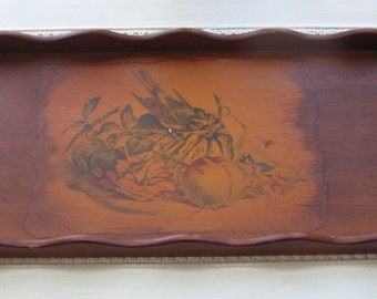 Vintage Wood Tray With Handles & Decoupage Bird Fruit Vegetables Extra Large, Rustic Farmhouse Botanicals