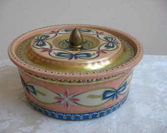 Vintage Tin by Baret Ware Art Grace England, Ballet Pink Gold Royal Blue Bows Embossed Design RARE
