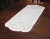 Vintage Hand Embroidered Pink Floral Table Runner Dresser Scarf