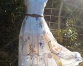 flower garden long skirt, vintage embroideries, lace & crochet, hippy, boho, ooak