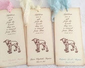 Lamb Bookmarks Christening Favor Baptism First Communion Personalized Favors Bible Verse