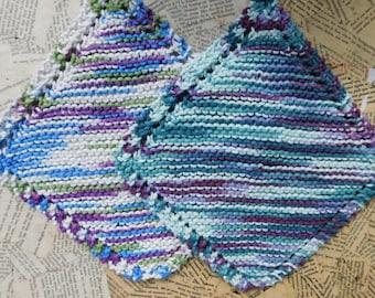 Cotton Knit Dishcloths   Set of Two, Blue, Green, Purple Multi   Dishcloths   Vegan    Washcloths   Ecofriendly   Reusable   Natural