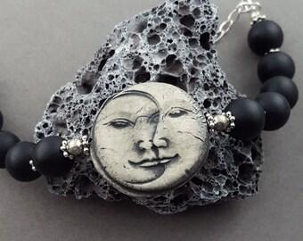 Christmas in July OOAK Moon Face Bangle Bracelet