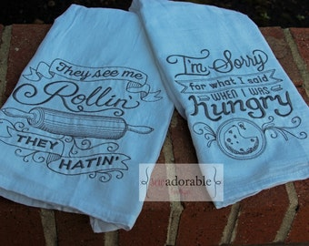 Embroidered Flour Sack Kitchen Towel Set, Kitchen Decor, Bridal Shower Gift, Kitchen Towel Set, They see me Rollin' They Hatin'