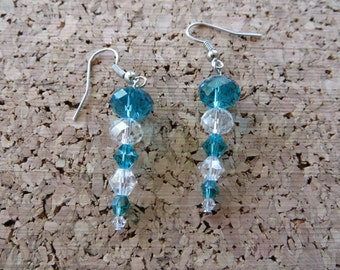 Dangling Teal And Clear Crystal Icicle Earrings