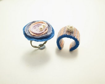 Crochet Jewelry (Free Form 1-a) Crochet Ring, Statement Ring, Fiber Ring, Rings Set