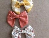 SALE Set of THREE, MINI sailor bow headband, bow clip,  Girl hair accessory, photography prop, baby girl headband