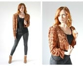 60s Brown Sequin Cropped Jacket- Structured Rust Color Flapper 20s Style Modern Vintage, Retro
