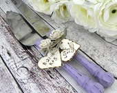 Rustic Chic Wedding Cake Server And Knife Set, Wisteria Purple and Cream, Bridal Shower Gift, Wedding Gift