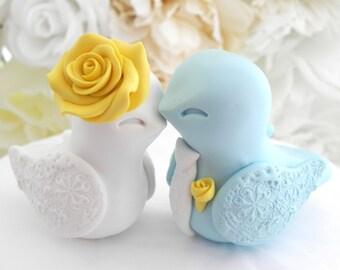 Wedding Cake Topper, Love Birds, Aqua Blue, Yellow and White, Bride and Groom Keepsake