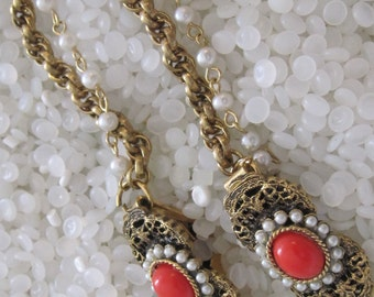 vintage sweater guard, orange and faux pearl  cabochon,antique gold filagree ,