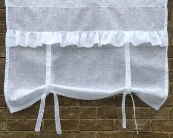 "White Sheer Window Valance Curtain, Bathroom Tie up Door Panel, Sheer Ruffle White Window Curtain, 40"" Length, Pesonalised Gift"