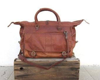 Vintage Large Soft Cognac Duffle Travel Bag w/Shoulder Strap