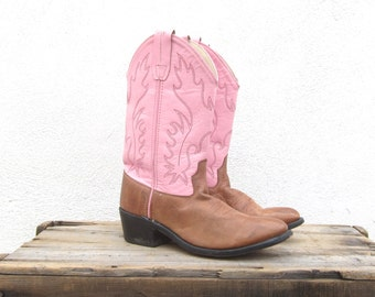 90s Pink Cowboy Western Boots Ladies Size 6-7