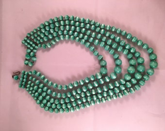 Vintage Green & White Iridescent Five Strand Beaded Necklace