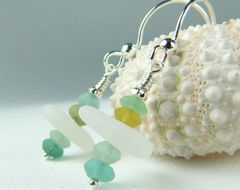 Ancient Roman Glass Earrings, GENUINE Sea Glass Earrings, Sterling Silver Dangle Earrings, Aqua Blue Seaglass Earrings, Beach Glass Earrings