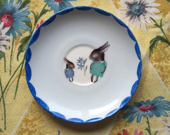 Shy Bunny Blues Vintage Illustrated Plate