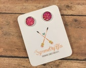 Pink Sparkle Stud Earrings, 10mm Stud Earrings, Casual Stud Earrings, Ready to Ship Gift, Mother's Day Gift, Gift Under 10, Sparkle Studs