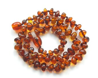 """14"""" Natural Baltic Amber child necklace,  teenager neclace, polished beads, dark cognac color amber necklace, round beads"""