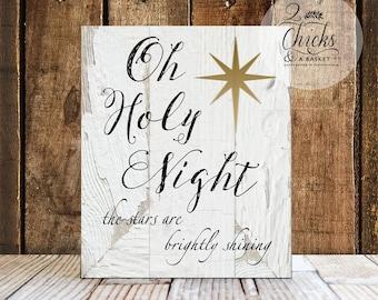 Oh Holy Night Sign, Christmas Wall Decor, Christmas Wall Sign, Handcrafted Christmas Sign