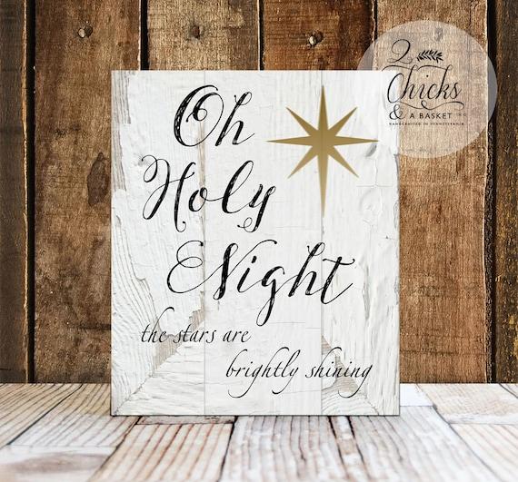 Holiday Wall Decor: Oh Holy Night Sign Christmas Wall Decor Christmas Wall Sign