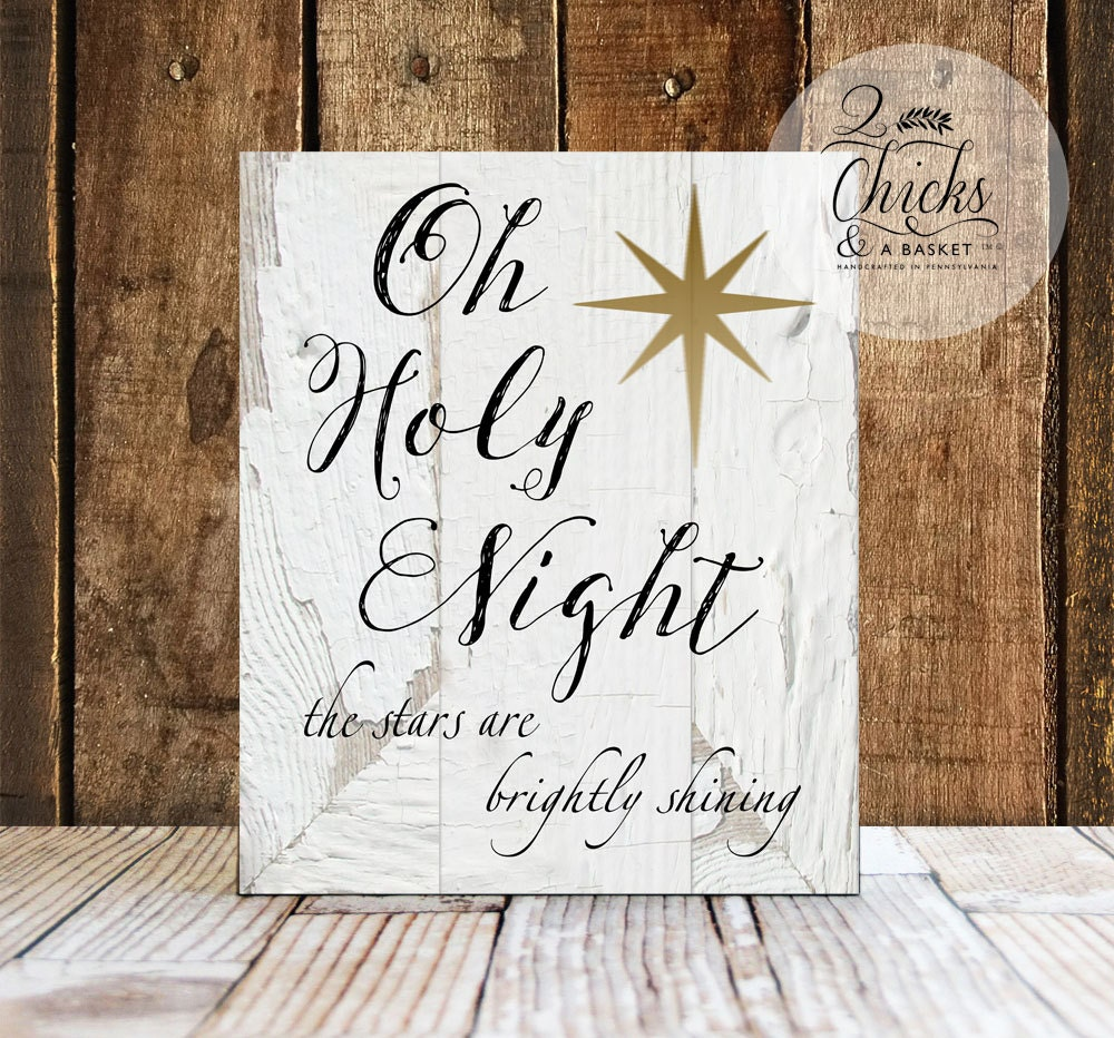 oh holy night sign christmas wall decor christmas wall sign. Black Bedroom Furniture Sets. Home Design Ideas