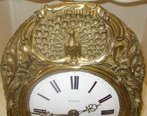 Antique French Comtoise Clock Movement, Le Paon,  The Peacock,   Enamel Face, Floral Repoussé   (59