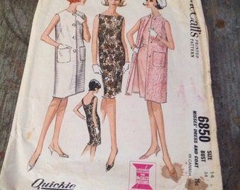 Vintage McCall's Sewing Pattern 6850 Misses' Size 14 Bust 34 Dress Coat