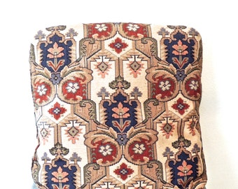 vintage tapestry pillows - 1960s taupe/navy/red woven large throw pillow cushions 2 available