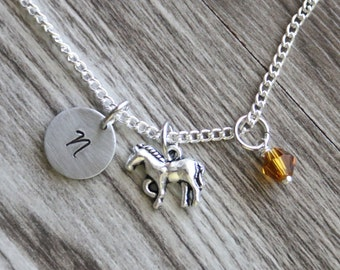 Horse Necklace,  Personalized Initial Necklace, Birthstone Charm, Gift for Her, Horse Necklace Gift, Animal Necklace, Horse Jewelry Gift