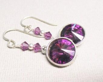Amethyst Earrings, Purple Crystal Earrings, Swarovski Rivoli Earrings, Amethyst Dangle Earrings, February Birthstone Earrings