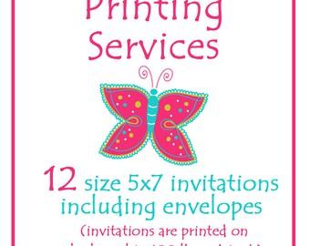 Printing Services --  Twelve 5x7 Invitations including envelopes -- Custom Printing