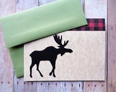 Moose Cards Rustic Woodland Christmas Stationery Note Card Set