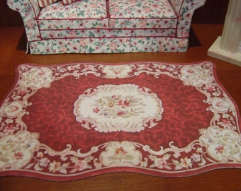 Dollhouse red and cream floral rug 1:12 scale