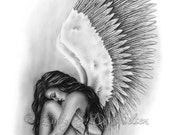 Angel Wings Girl Art Print Glossy Emo Fantasy Girl Zindy Nielsen