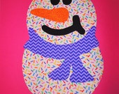 Rainbow Candy Sprinkle Iron On SNOWMAN Applique Jumbo SNOWMAN...Purple Chevron Zig Scarf...Any Little Girl Would Love This On Her Shirt CUTE