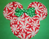 Iron On Applique Christmas PEPPERMINT MINNIE/MICKEY Mouse