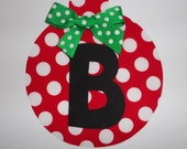 Iron On CHRISTMAS Initial ORNAMENT Red With White Polka Dots With Bow.....You choose Initial