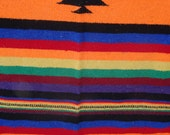 Vintage Mexican Hippie Blanket  Multi Colors Bright