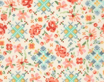 Woodland Clearing Fabric Digital Floral Fabric in Ivory by Liesl Gibson for Robert Kaufman Fabrics - 1 Yard