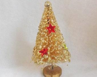 Vintage bottle brush tree cream with foil stars fake snow and gold glitter bottlebrush tree 4 inch Japan