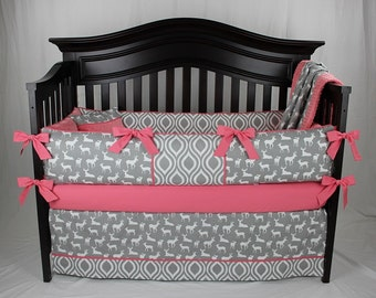 MIA 5 piece Baby Bedding Set -Gray and Coral Woodland Deer Nursery